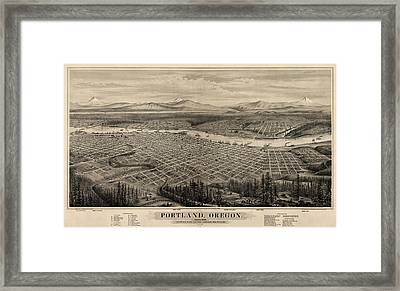 Antique Map Of Portland Oregon By E.s. Glover - 1879 Framed Print
