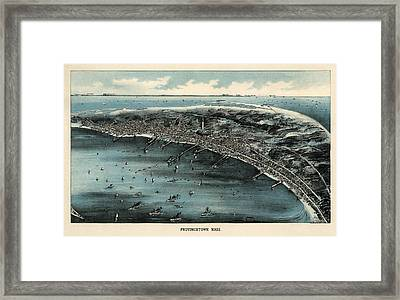Antique Map Of Provincetown Massachusetts - 1910 Framed Print by Blue Monocle