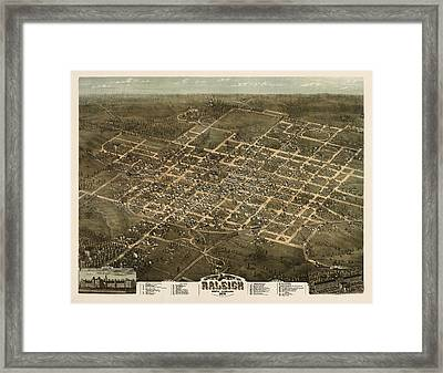 Antique Map Of Raleigh North Carolina By C. N. Drie - 1872 Framed Print
