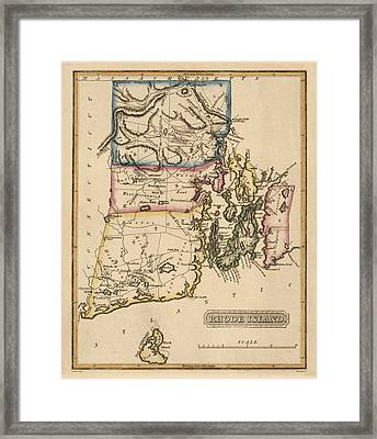 Antique Map Of Rhode Island By Fielding Lucas - Circa 1817 Framed Print by Blue Monocle