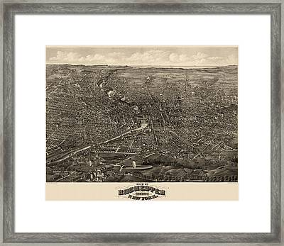 Antique Map Of Rochester New York By H.h. Rowley And Co. - 1880 Framed Print