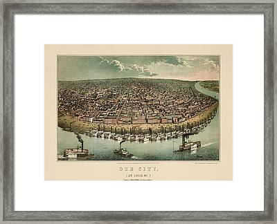 Antique Map Of Saint Louis Missouri By A. Janicke And Co. - Circa 1859 Framed Print by Blue Monocle