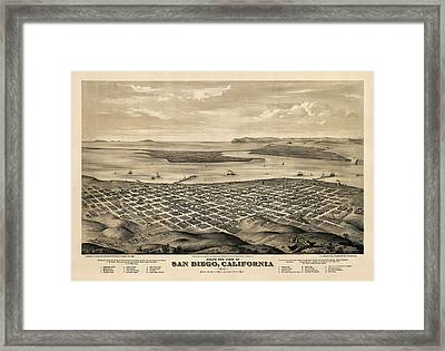 Antique Map Of San Diego California By E.s. Glover - 1876 Framed Print