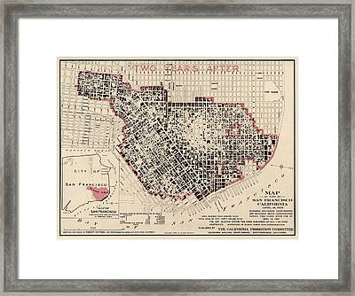 Antique Map Of San Francisco After The Earthquake By Punnett Brothers - 1908 Framed Print