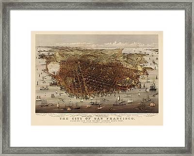 Antique Map Of San Francisco By Currier And Ives - Circa 1878 Framed Print