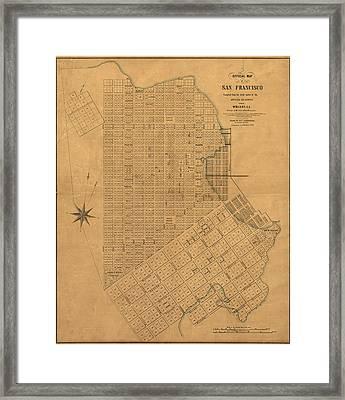 Antique Map Of San Francisco By William M. Eddy - 1849 Framed Print