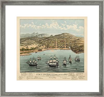 Antique Map Of San Francisco In 1846-7 Framed Print