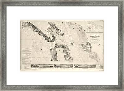 Antique Map Of San Francisco - Usgs Coast Survey Map - 1859 Framed Print by Blue Monocle