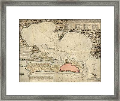 Antique Map Of San Juan Puerto Rico By Jose Montero De Espinosa - 1785 Framed Print by Blue Monocle