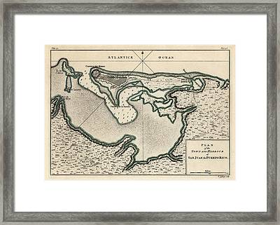 Antique Map Of San Juan Puerto Rico By Thomas Jefferys - 1768 Framed Print by Blue Monocle