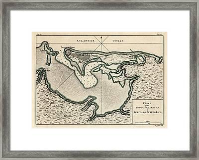 Antique Map Of San Juan Puerto Rico By Thomas Jefferys - 1768 Framed Print
