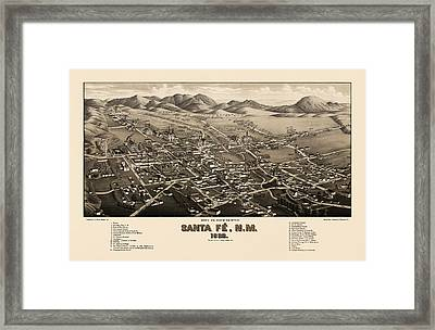 Antique Map Of Santa Fe New Mexico By H. Wellge - 1882 Framed Print
