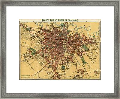 Antique Map Of Sao Paulo Brazil By Alexandre Mariano Cococi - 1913 Framed Print by Blue Monocle