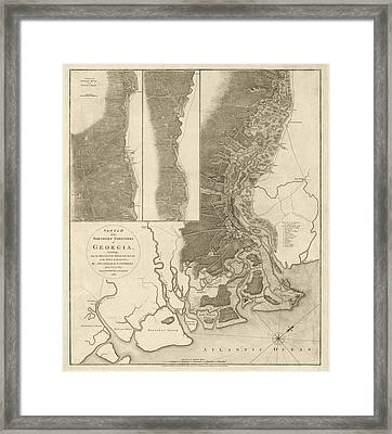 Antique Map Of Savannah Georgia By Archibald Campbell - 1780 Framed Print by Blue Monocle