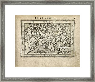 Antique Map Of Scotland By Abraham Ortelius - 1603 Framed Print by Blue Monocle