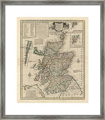 Antique Map Of Scotland By Emanuel Bowen - 1752 Framed Print by Blue Monocle
