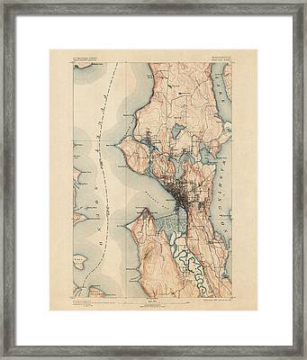 Antique Map Of Seattle - Usgs Topographic Map - 1894 Framed Print by Blue Monocle