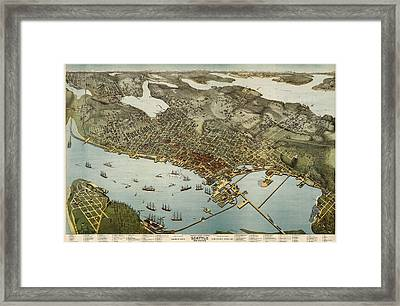Antique Map Of Seattle Washington By Augustus Koch - 1891 Framed Print by Blue Monocle