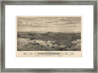 Antique Map Of Seattle Washington By E.s. Glover - 1878 Framed Print by Blue Monocle