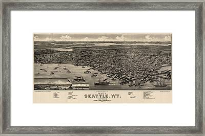 Antique Map Of Seattle Washington By H. Wellge - 1884 Framed Print by Blue Monocle