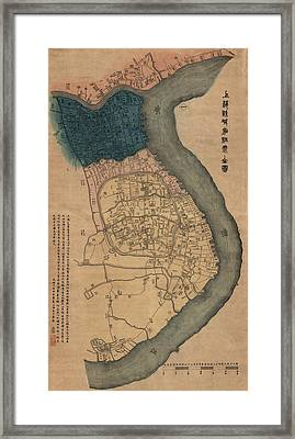 Antique Map Of Shanghai China By Dian Shi Zhai - 1884 Framed Print
