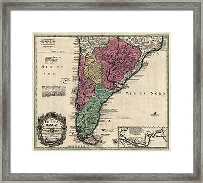 Antique Map Of South America By Alonso De Ovalle - 1733 Framed Print by Blue Monocle