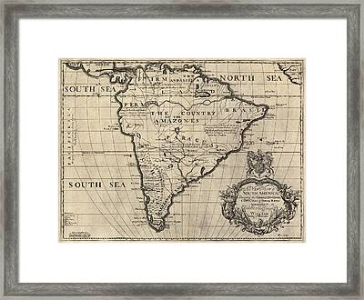 Antique Map Of South America By Edward Wells - Circa 1700 Framed Print