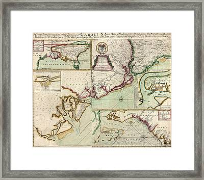 Antique Map Of South Carolina By Edward Crisp - Circa 1711 Framed Print by Blue Monocle