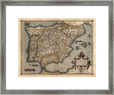 Antique Map Of Spain And Portugal By Abraham Ortelius - 1570 Framed Print by Blue Monocle