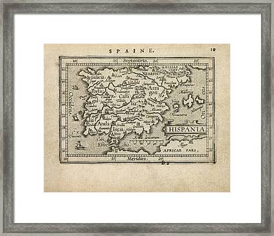 Antique Map Of Spain And Portugal By Abraham Ortelius - 1603 Framed Print