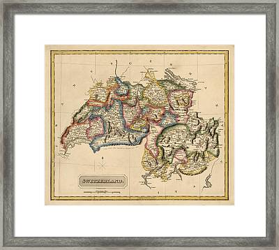 Antique Map Of Switzerland By Fielding Lucas - Circa 1817 Framed Print by Blue Monocle