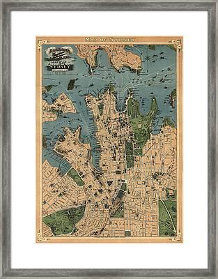 Antique Map Of Sydney Australia - 1922 Framed Print