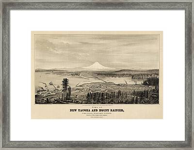 Antique Map Of Tacoma Washington By E.s. Glover - 1878 Framed Print by Blue Monocle