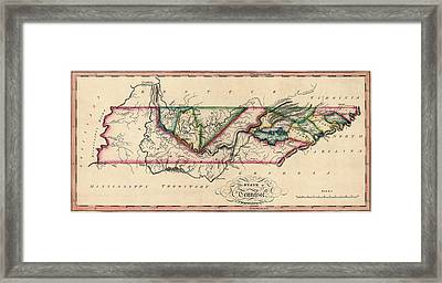 Antique Map Of Tennessee By Samuel Lewis - Circa 1810 Framed Print by Blue Monocle