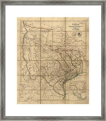 Antique Map Of Texas By John Arrowsmith - 1841 Framed Print by Blue Monocle