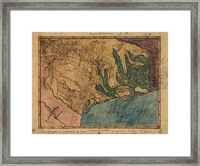 Antique Map Of Texas By Stephen F. Austin - Circa 1822 Framed Print