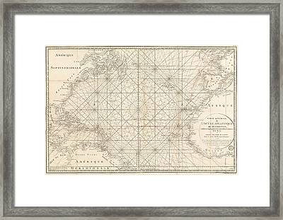 Antique Map Of The Atlantic Ocean - 1792 Framed Print by Blue Monocle