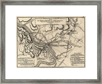Antique Map Of The Battle Of Trenton By William Faden - 1777 Framed Print by Blue Monocle