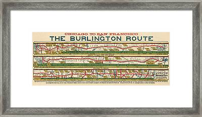 Antique Map Of The Burlington Route By H. R. Page And Co. - Circa 1879 Framed Print by Blue Monocle