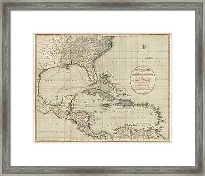 Antique Map Of The Caribbean And Central America By John Cary - 1783 Framed Print