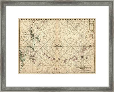 Antique Map Of The Caribbean By Joan Vinckeboons - Circa 1650 Framed Print