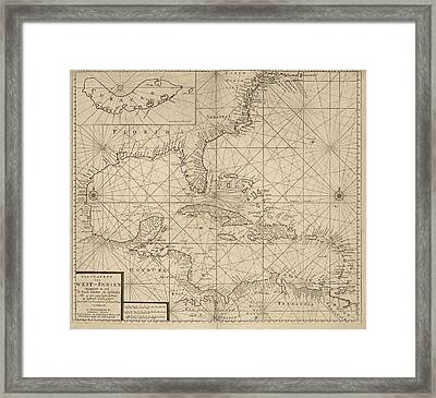 Antique Map Of The Caribbean By Johannes Loots - Circa 1705 Framed Print by Blue Monocle