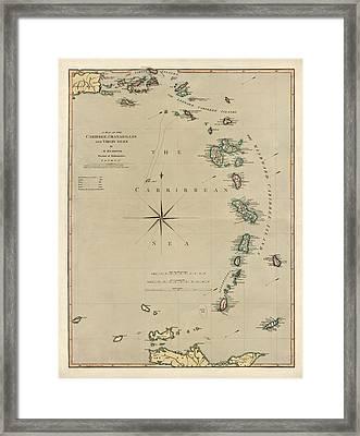 Antique Map Of The Caribbean - Lesser Antilles - By Mathew Richmond - 1789 Framed Print