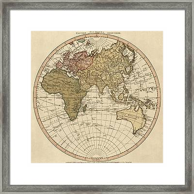 Antique Map Of The Eastern Hemisphere By William Faden - 1786 Framed Print by Blue Monocle