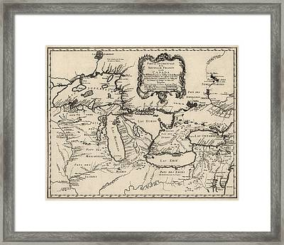 Antique Map Of The Great Lakes By Jacques Nicolas Bellin - 1755 Framed Print by Blue Monocle