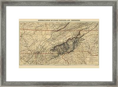 Antique Map Of The Great Smoky Mountains - North Carolina And Tennessee - By W. L. Nickolson - 1864 Framed Print by Blue Monocle