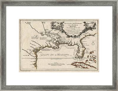 Antique Map Of The Gulf Coast And The Southeast By Nicolas De Fer - 1701 Framed Print by Blue Monocle