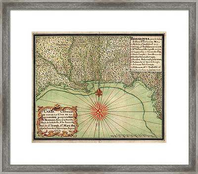 Antique Map Of The Gulf Coast By Alexandre De Batz - 1747 Framed Print by Blue Monocle