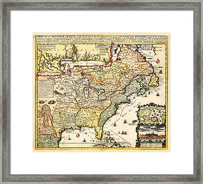 Antique Map Of The Harbor Of St Louis Mississippi River Framed Print by Celestial Images