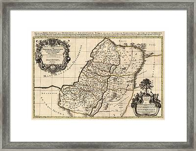 Antique Map Of The Holy Land By Alexis Hubert Jaillot - 1696 Framed Print